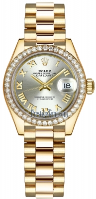 Rolex Lady Datejust 28mm Yellow Gold 279138RBR Silver Roman President
