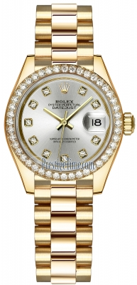 Rolex Lady Datejust 28mm Yellow Gold 279138RBR Silver Diamond President