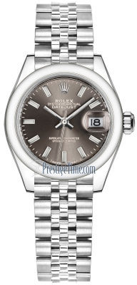 Rolex Lady Datejust 28mm Stainless Steel 279160 Dark Grey Index Jubilee