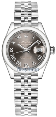 Rolex Lady Datejust 28mm Stainless Steel 279160 Dark Grey Roman Jubilee