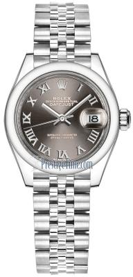 Rolex Lady Datejust 28mm Stainless Steel 279160 Dark Grey Roman Jubilee