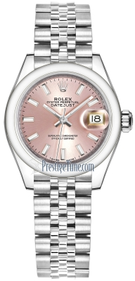 Rolex Lady Datejust 28mm Stainless Steel 279160 Pink Index Jubilee