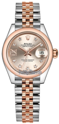 Rolex Lady Datejust 28mm Stainless Steel and Everose Gold 279161 Sundust 17 Diamond Jubilee