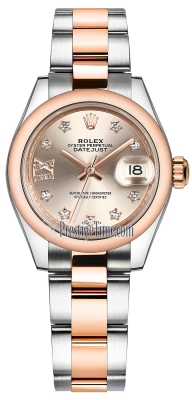 Rolex Lady Datejust 28mm Stainless Steel and Everose Gold 279161 Sundust 17 Diamond Oyster