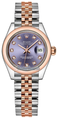Rolex Lady Datejust 28mm Stainless Steel and Everose Gold 279161 Aubergine Diamond Jubilee