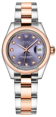Rolex Lady Datejust 28mm Stainless Steel and Everose Gold 279161 Aubergine Diamond Oyster
