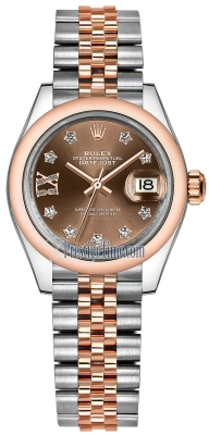 Rolex Lady Datejust 28mm Stainless Steel and Everose Gold 279161 Chocolate 17 Diamond Jubilee