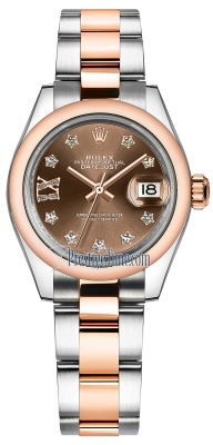 Rolex Lady Datejust 28mm Stainless Steel and Everose Gold 279161 Chocolate 17 Diamond Oyster