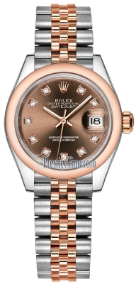 Rolex Lady Datejust 28mm Stainless Steel and Everose Gold 279161 Chocolate Diamond Jubilee