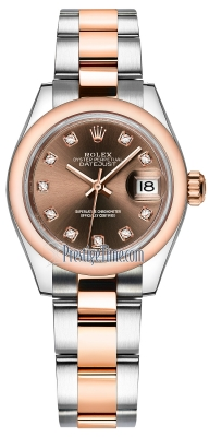 Rolex Lady Datejust 28mm Stainless Steel and Everose Gold 279161 Chocolate Diamond Oyster