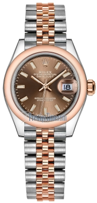 Rolex Lady Datejust 28mm Stainless Steel and Everose Gold 279161 Chocolate Index Jubilee