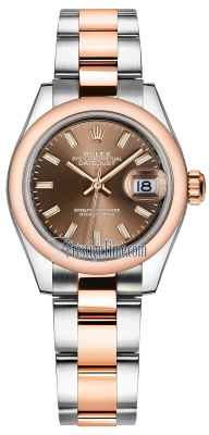 Rolex Lady Datejust 28mm Stainless Steel and Everose Gold 279161 Chocolate Index Oyster