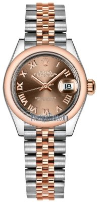 Rolex Lady Datejust 28mm Stainless Steel and Everose Gold 279161 Chocolate Roman Jubilee