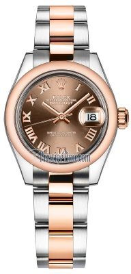 Rolex Lady Datejust 28mm Stainless Steel and Everose Gold 279161 Chocolate Roman Oyster
