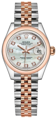 Rolex Lady Datejust 28mm Stainless Steel and Everose Gold 279161 MOP Diamond Jubilee