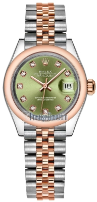 Rolex Lady Datejust 28mm Stainless Steel and Everose Gold 279161 Olive Green Diamond Jubilee