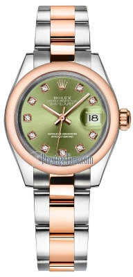 Rolex Lady Datejust 28mm Stainless Steel and Everose Gold 279161 Olive Green Diamond Oyster