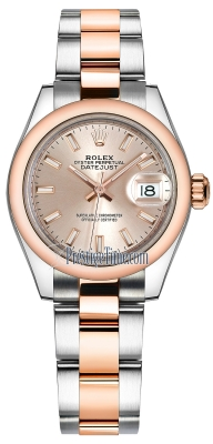 Rolex Lady Datejust 28mm Stainless Steel and Everose Gold 279161 Sundust Index Oyster