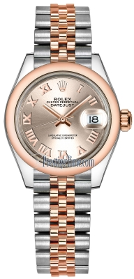 Rolex Lady Datejust 28mm Stainless Steel and Everose Gold 279161 Sundust Roman Jubilee