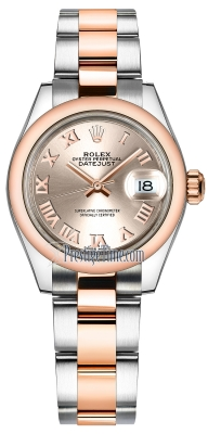 Rolex Lady Datejust 28mm Stainless Steel and Everose Gold 279161 Sundust Roman Oyster