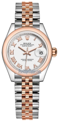 Rolex Lady Datejust 28mm Stainless Steel and Everose Gold 279161 White Roman Jubilee