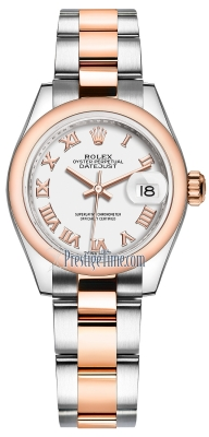 Rolex Lady Datejust 28mm Stainless Steel and Everose Gold 279161 White Roman Oyster
