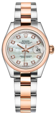 Rolex Lady Datejust 28mm Stainless Steel and Everose Gold 279161 MOP Diamond Oyster