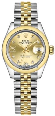 Rolex Lady Datejust 28mm Stainless Steel and Yellow Gold 279163 Champagne 17 Diamond Jubilee