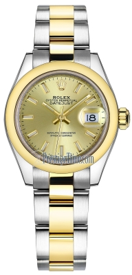 Rolex Lady Datejust 28mm Stainless Steel and Yellow Gold 279163 Champagne Index Oyster