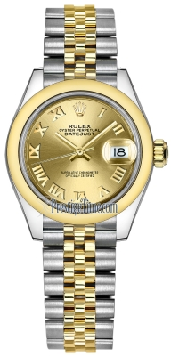 Rolex Lady Datejust 28mm Stainless Steel and Yellow Gold 279163 Champagne Roman Jubilee