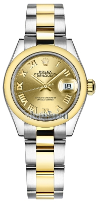Rolex Lady Datejust 28mm Stainless Steel and Yellow Gold 279163 Champagne Roman Oyster
