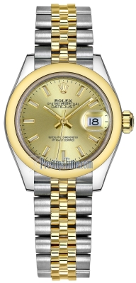Rolex Lady Datejust 28mm Stainless Steel and Yellow Gold 279163 Champagne Index Jubilee