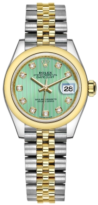 Rolex Lady Datejust 28mm Stainless Steel and Yellow Gold 279163 Mint Green Diamond Jubilee