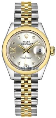 Rolex Lady Datejust 28mm Stainless Steel and Yellow Gold 279163 Silver 17 Diamond Jubilee