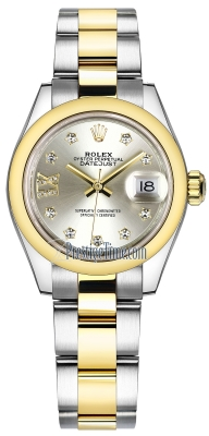 Rolex Lady Datejust 28mm Stainless Steel and Yellow Gold 279163 Silver 17 Diamond Oyster