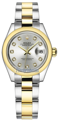 Rolex Lady Datejust 28mm Stainless Steel and Yellow Gold 279163 Silver Diamond Oyster