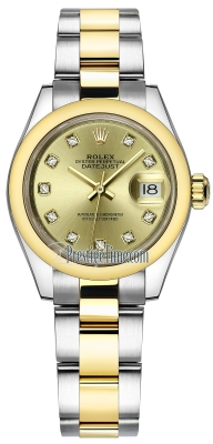 Rolex Lady Datejust 28mm Stainless Steel and Yellow Gold 279163 Champagne Diamond Oyster