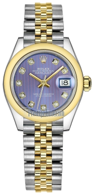 Rolex Lady Datejust 28mm Stainless Steel and Yellow Gold 279163 Lavender Diamond Jubilee