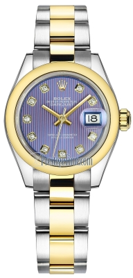 Rolex Lady Datejust 28mm Stainless Steel and Yellow Gold 279163 Lavender Diamond Oyster