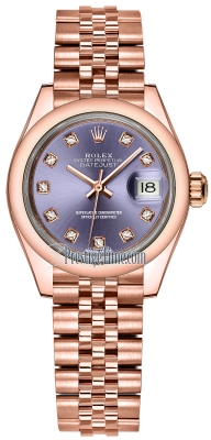 Rolex Lady Datejust 28mm Everose Gold 279165 Aubergine Diamond Jubilee