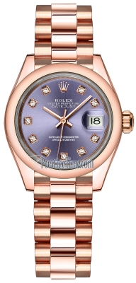 Rolex Lady Datejust 28mm Everose Gold 279165 Aubergine Diamond President