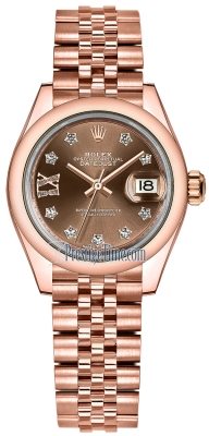 Rolex Lady Datejust 28mm Everose Gold 279165 Chocolate 17 Diamond Jubilee