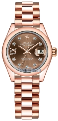 Rolex Lady Datejust 28mm Everose Gold 279165 Chocolate 17 Diamond President