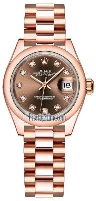 Rolex Lady Datejust 28mm Everose Gold 279165 Chocolate Diamond President