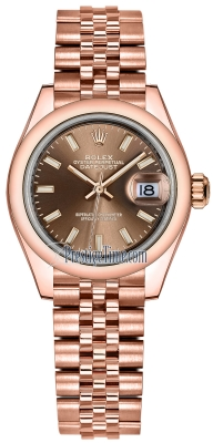 Rolex Lady Datejust 28mm Everose Gold 279165 Chocolate Index Jubilee