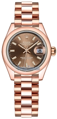 Rolex Lady Datejust 28mm Everose Gold 279165 Chocolate Index President