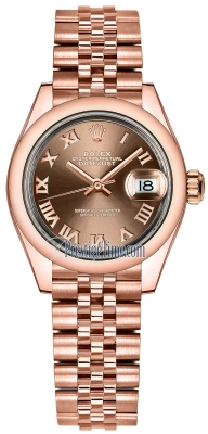 Rolex Lady Datejust 28mm Everose Gold 279165 Chocolate Roman Jubilee