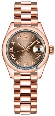 Rolex Lady Datejust 28mm Everose Gold 279165 Chocolate Roman President