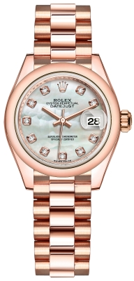 Rolex Lady Datejust 28mm Everose Gold 279165 MOP Diamond President
