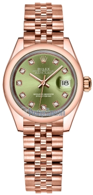 Rolex Lady Datejust 28mm Everose Gold 279165 Olive Green Diamond Jubilee